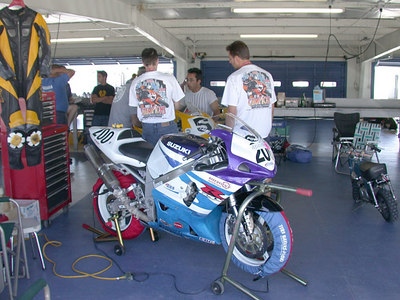Eddie with his bike in the paddock at Daytona