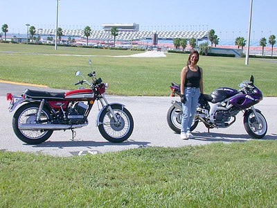 From the infield at Daytona - My '73 RD350 and Sue with her Suzuki