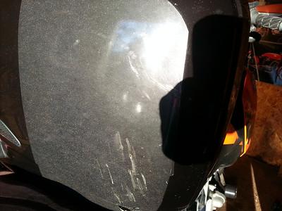 Left saddlebag, scuffs mostly on tape
