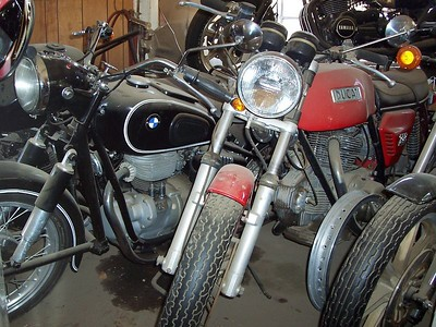 A BMW single and a Ducati bevel-drive...