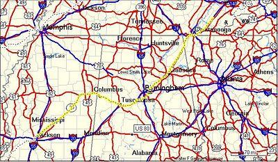 DAY 2 - Jackson, to Birmingham, to Athens, TN. 458 miles.