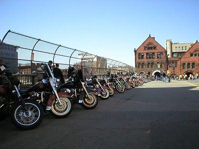 Motorcycle parking at the Marathon finish line.