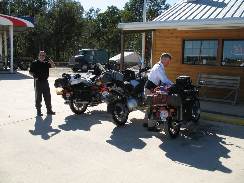 Brad and Randy and the bikes somewhere in southern Oklahoma.