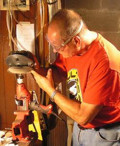 polishing rear brake flange