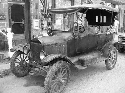 Breakfast in Virginia City, I parked the bike in front of this old car... Thank Burwash for the black and white idea... it makes this photo