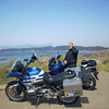 Thad with my GS and his V Strom at San Simeon