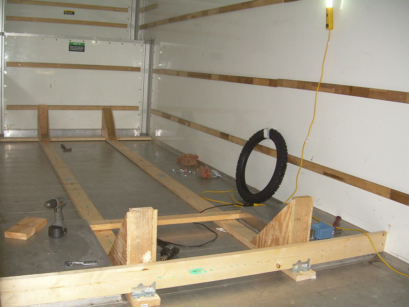 The frame we built to transport the bikes inside a 26' U-Haul.