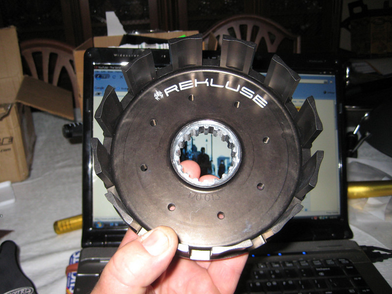 This rekluse billet clutch basket takes over for the worn out OE basket. If I kill this, I'll get a steel Hinson.