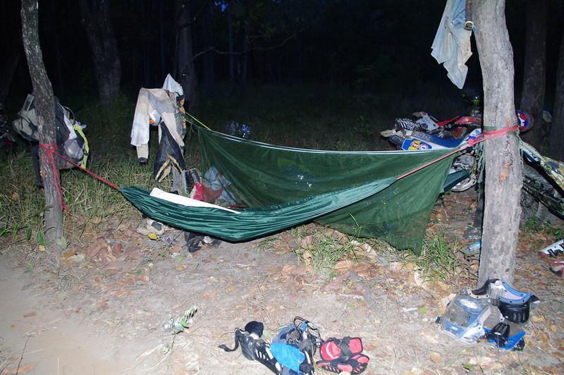 Some slept in hammocks