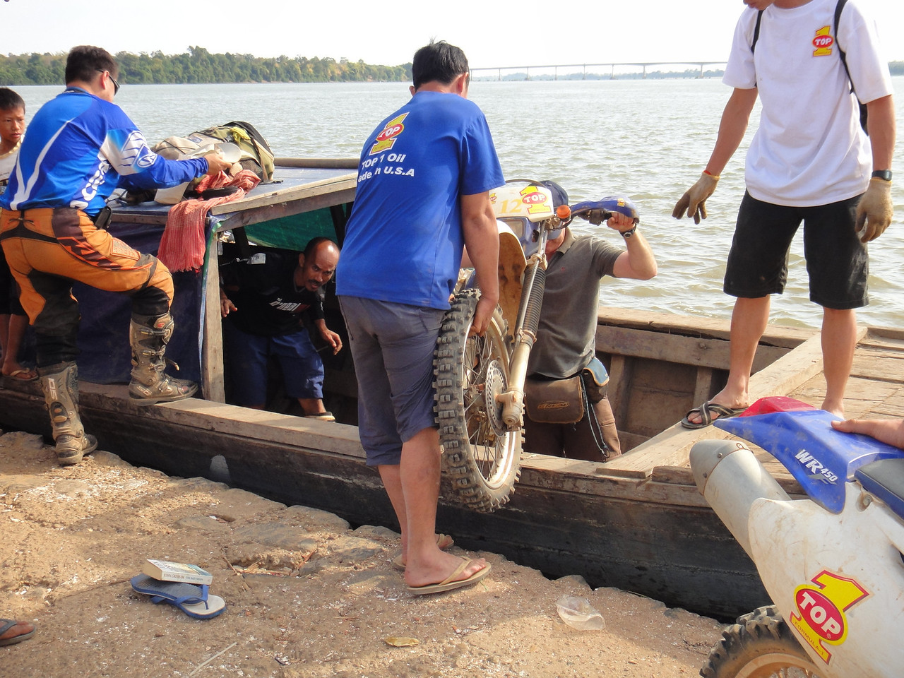 Loading bikes for the ride up the Mekong.