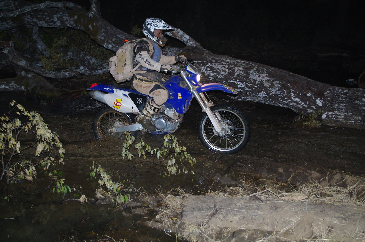 Night riding through some water.