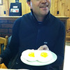 The waitresses played a joke on Jeff at the diner in Skowkegan.   Those are candy eggs.