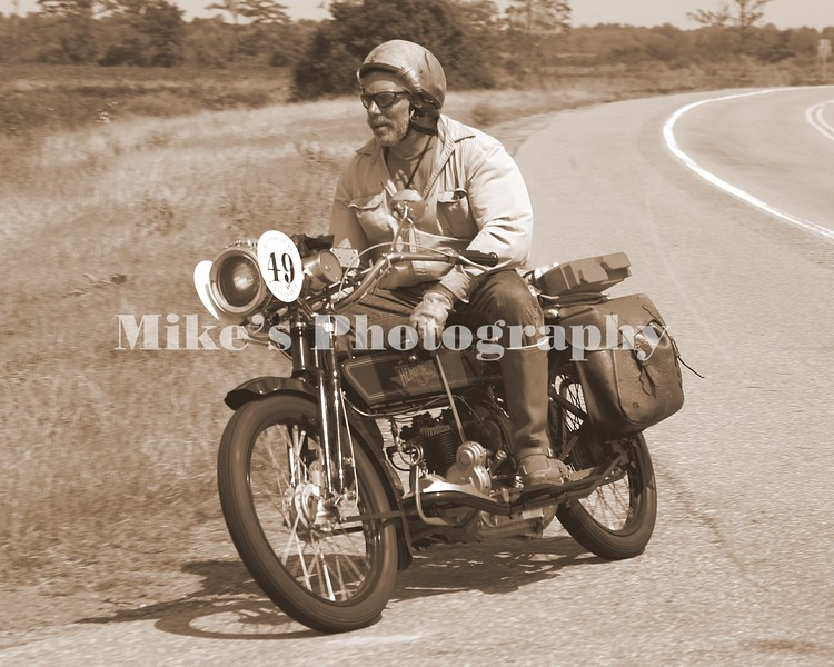 # 49 Frank Westfall on a 1914 Henderson during the Cannonball race across Anerica.