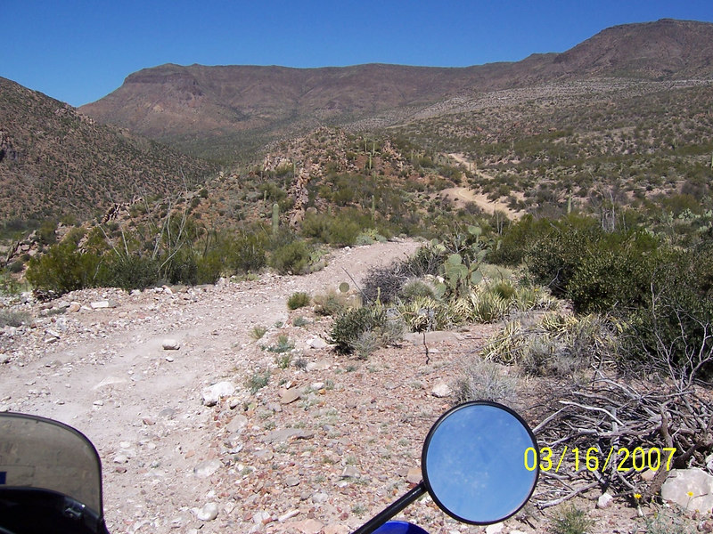 Here is a view of the trail leading back out. I'll be back someday with four wheels or a smaller bike to see if I can do this loop. It was too much for the KLR.