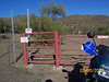 The trail continued until it came to this gate. This place was called Whittaker Ranch.  A sign on the gate said, ' Absolutely No Camping at the Cave'.  Wow! There is a cave ahead.