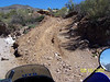 Here is the trail up to the right leaving the creek. There is a big rut in the middle of the trail. This picture doesn't make it look as intimidating as it was. I took the line up the left side of the rut.