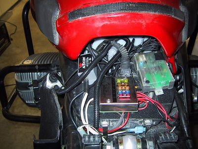 Centec panel on BMW R1100GS -  mounted on top of the airbox.
