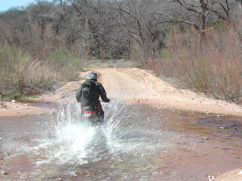 Tim splashes thru the water