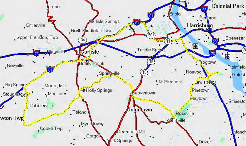 From home to Mt. Holly Springs to Ridge Road to Newville and back home.  88.5 miles.