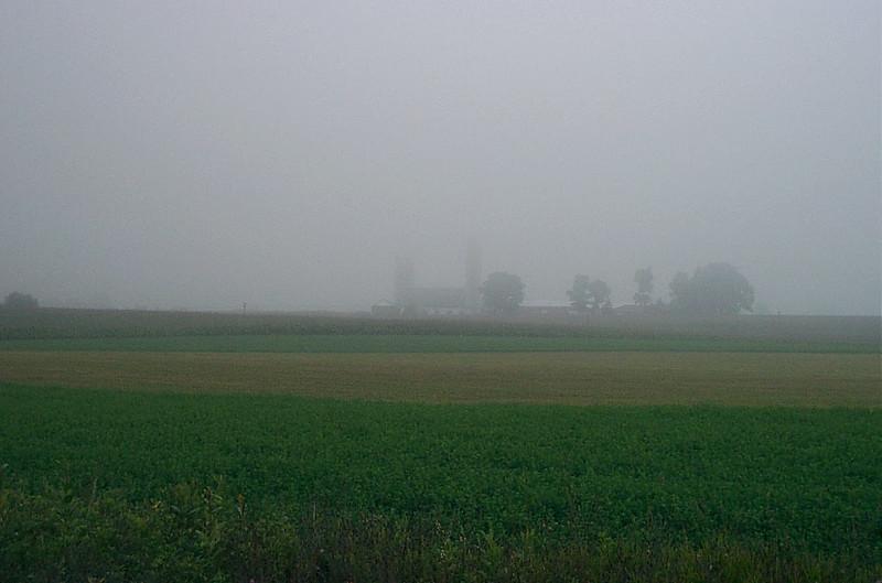 Farm in the fog