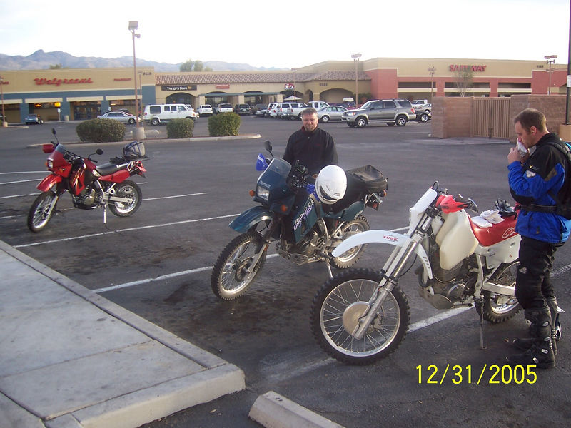 I was not paying attention when Craig announced the meeting place and went to the usual McDonalds at Houghton and Broadway. Luckily Craig was driving by as I turned in so he doubled back to straighten me out.  We went to the correct McDonalds at Tanque Verde and Catalina Hwy and met Randall. It was really striking how shiny and clean his red KLR was next to my dirty and scratched up KLR.<br /> <br /> Craig showed us his new ride, an XR600R.  He is selling his KLR. He wanted something that was better suited to off-road.