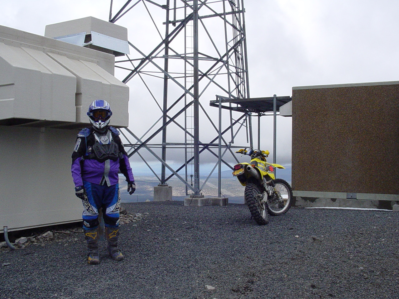 "<font size=""+1"">Tom inspecting the cool microwave towers located here.. </font>"