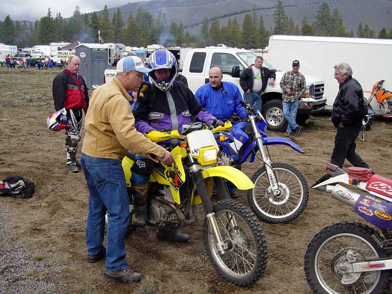 "<font size=""+1"">My buddy, Tom, trying to convince the tech inspector that he actually has a motorcycle endorsement on his drivers license.. </font>"
