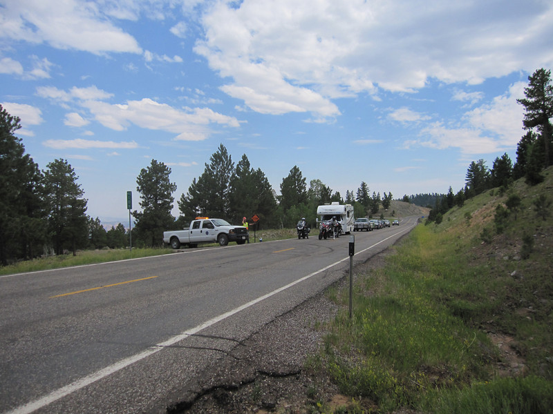 Road work on Hwy 12 which we easily ride around.