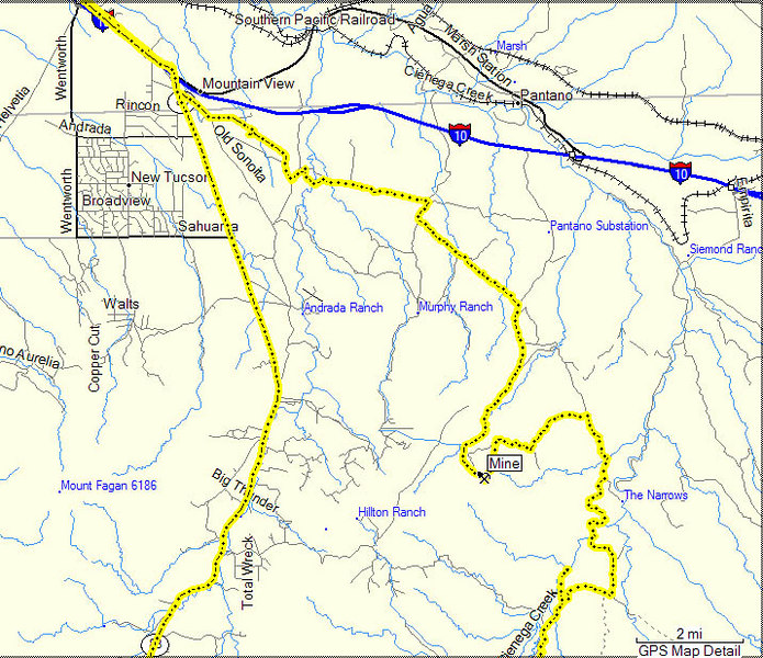 Here is the map of the northern part of our ride to Cienega Creek.