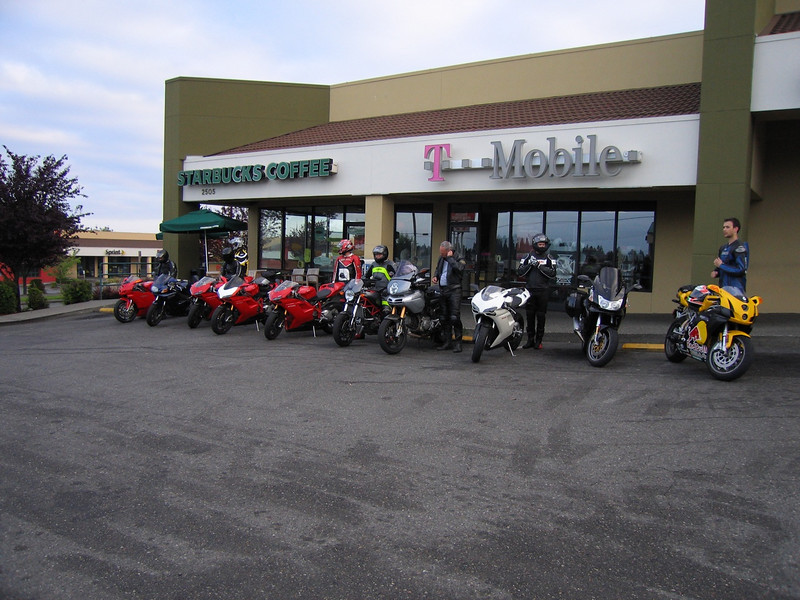 The group of 10 departing Tacoma Starbucks around 6:30am