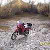 Here is my muddy bike at the Gila River at the end of Cochran Road.