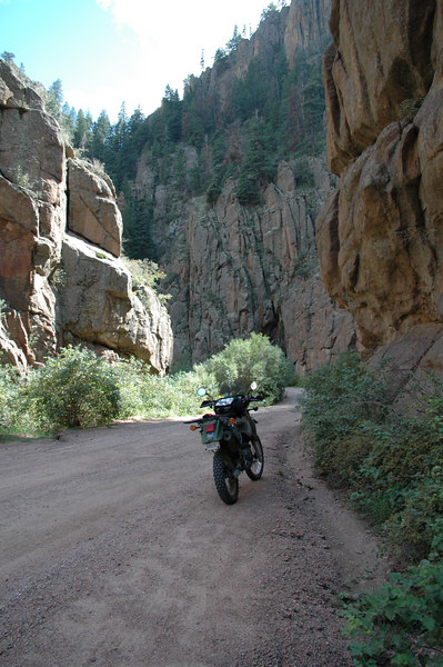 """After leaving Pikes Peak we rode over to Cripple Creek and Victor<br /> where we had lunch. We came across two other KLR riders there and they mentioned that """"Phantom Canyon"""" was a """"must ride """" for the area so we headed on this dirt road which ran from Victor to Florence and we not disappointed!"""