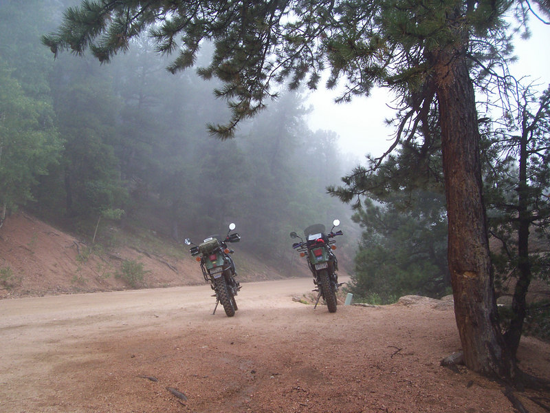 Saturday morning on rampart Range Road - 45 degrees and misty rain. A great 160 mi ride which included some sweet single track trails at Rampart -
