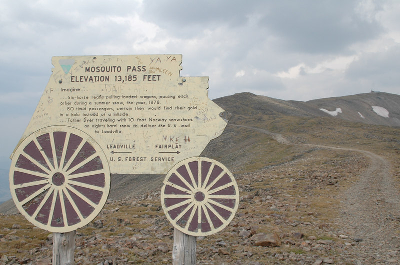 "Mosquito Pass is the highest navigable four wheel drive pass in North America - the ride up is rough , made worse by 4wd's grinding out ledges and rocks  - to think that this was essentially a ""freeway"" for wagons, horses and burro's in the 1800's is hard for us to comprehende"