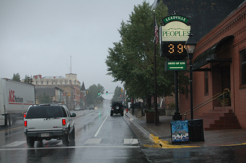 Leaving Leadville , heading back to Colorado Springs, we were heading off on a cold wet ride....