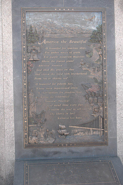 A plaque at the summit of Pikes Peak commerates the spot where this tune was penned , inspired by the views from the summit...