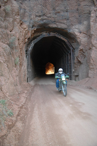 Larry exiting a tunnel of fire along Goldcamp Road