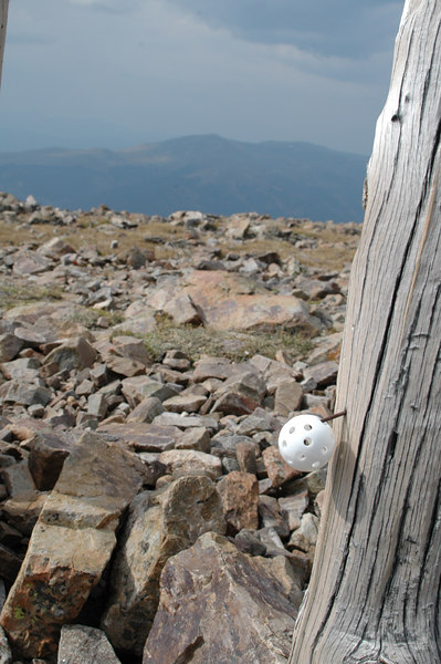 I found this plastic golf ball a few hundred feet from the trail summit at Mosquito, someone was having a high altitude golf game - I stuck it onto a nail on the tailhead sign, maybe it will be left alone and found when the snow clears next year...