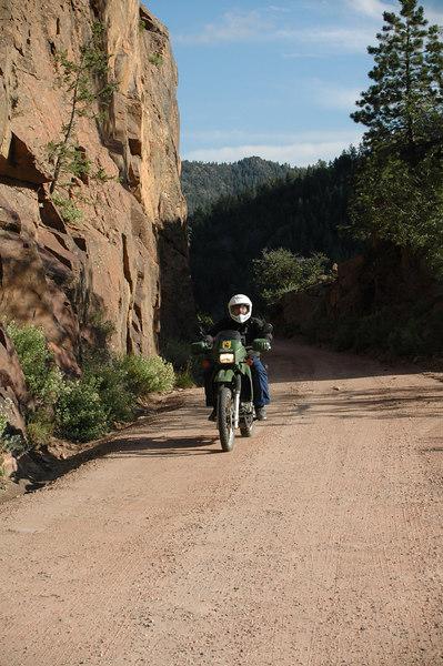 Larry motoring along Phantom Canyon Road