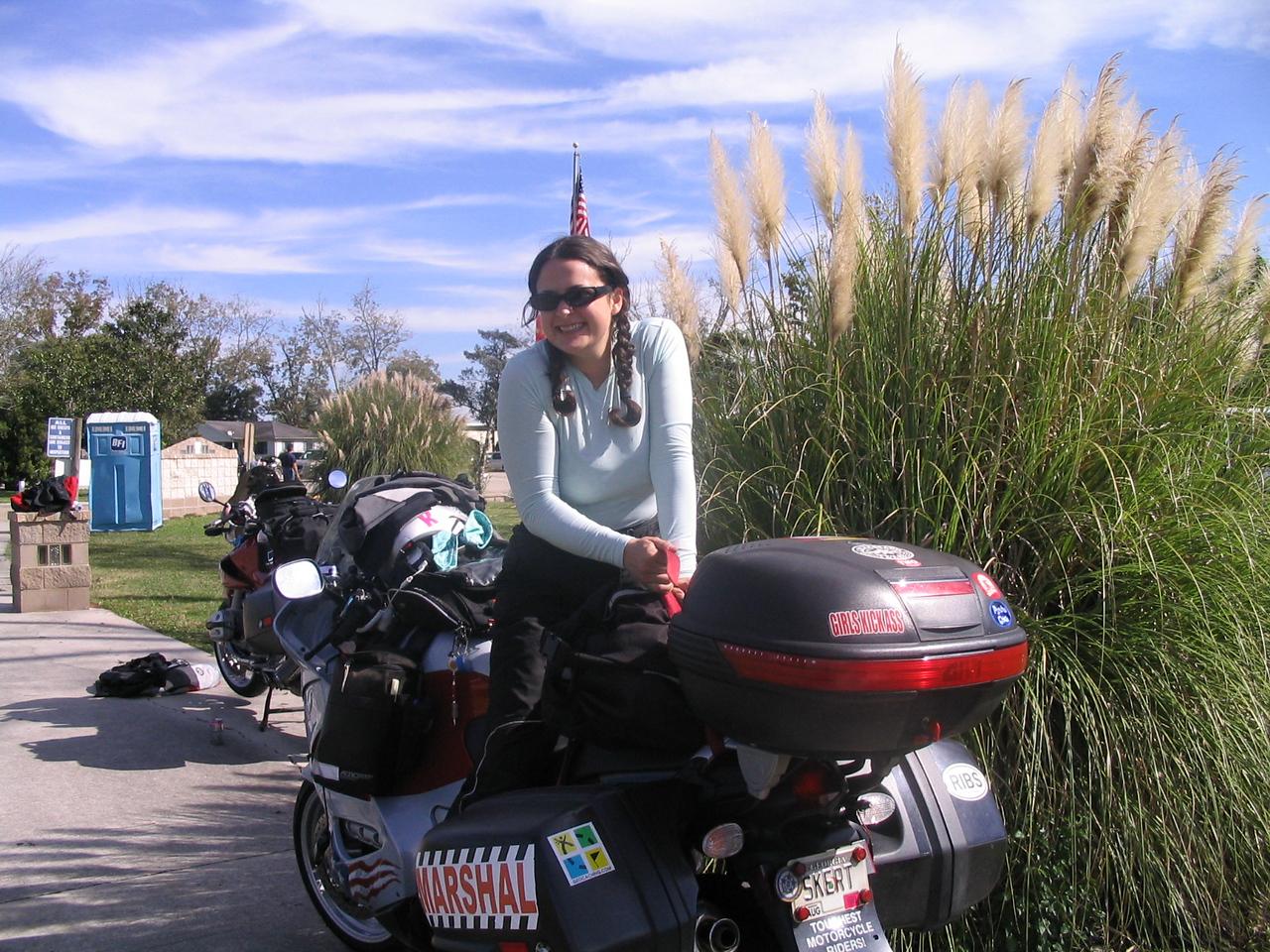 Lins riding my bike at Cajun rally