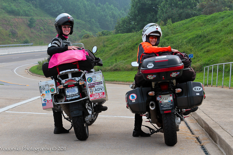 My best friend and riding buddy Marylee Jackson and myself on the way to the PA BMW National rally on I-26 outside of Asheville NC. You can't tell by these pics because this was the only cool spot we were in all week. Record breaking high temps. Miserable but we were happy on our bikes.