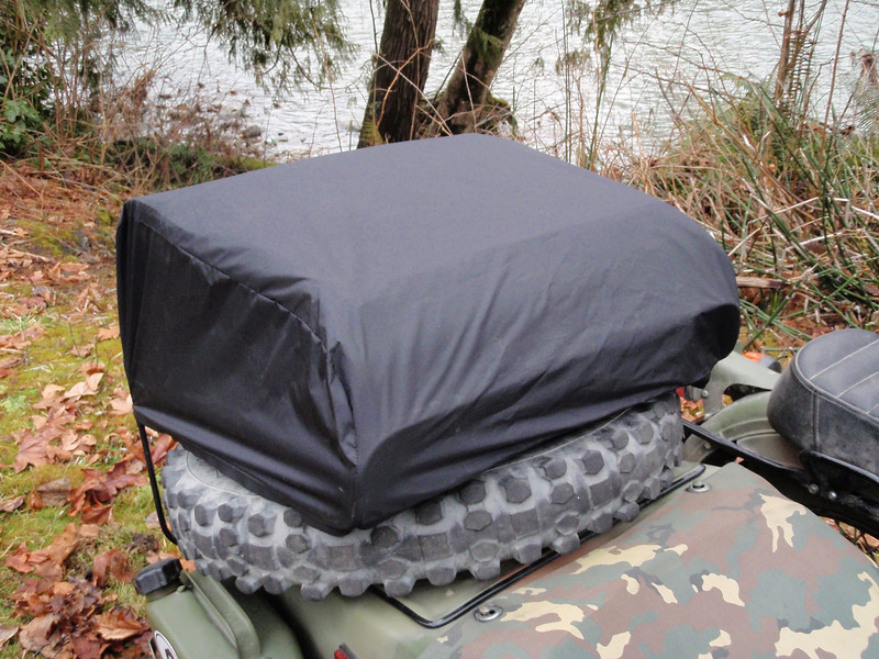 The included rain cover installed from the front.