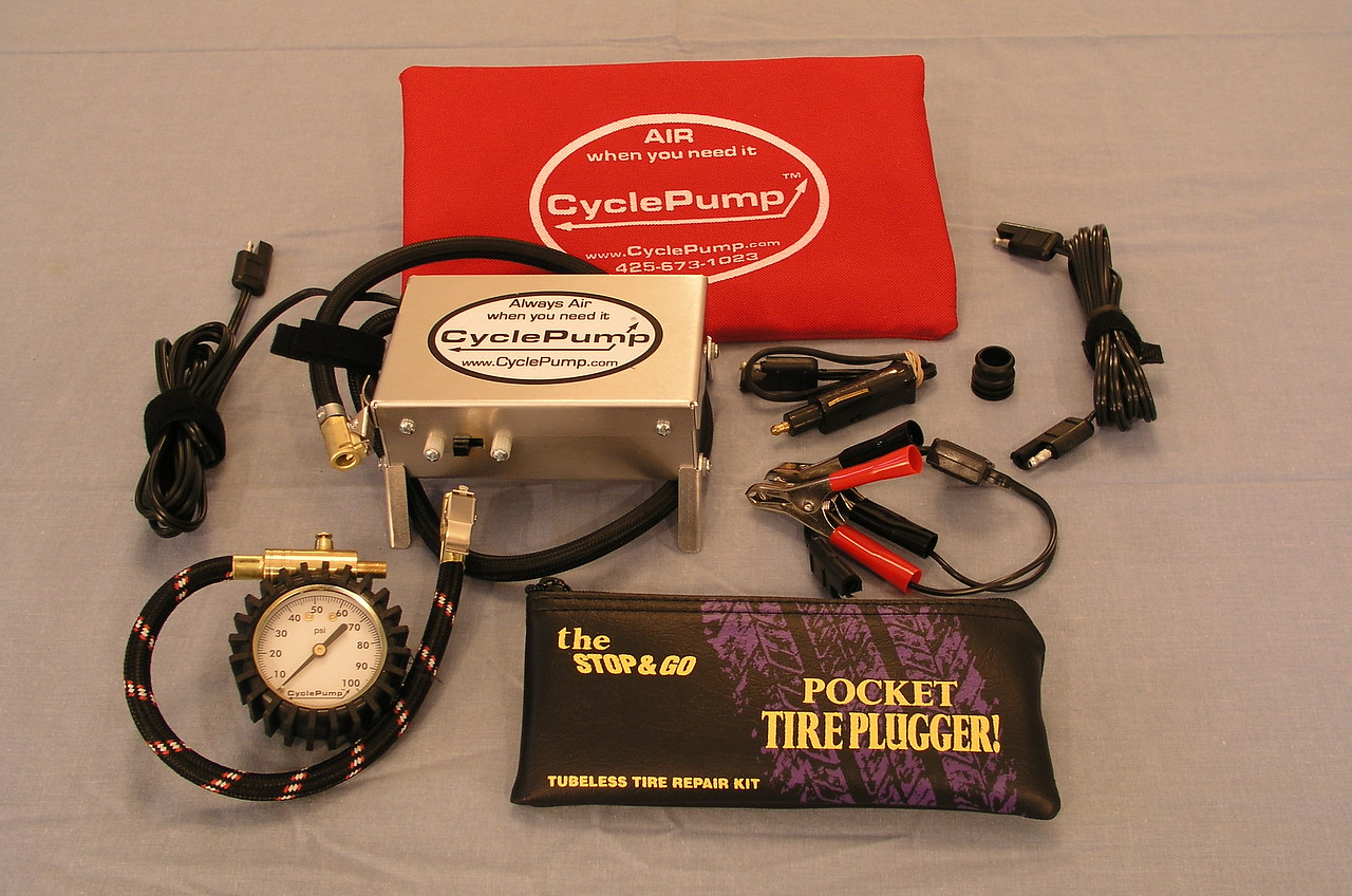 CyclePump ADVENTURE Combo package - comes with the new ADVENTURE model CyclePump, the EZAir tire gauge, and the Stop&Go pocket plugger.