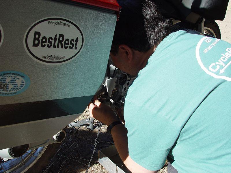 Dave reassembling his rear brake.