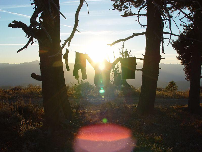 Sun set behind my laundry.