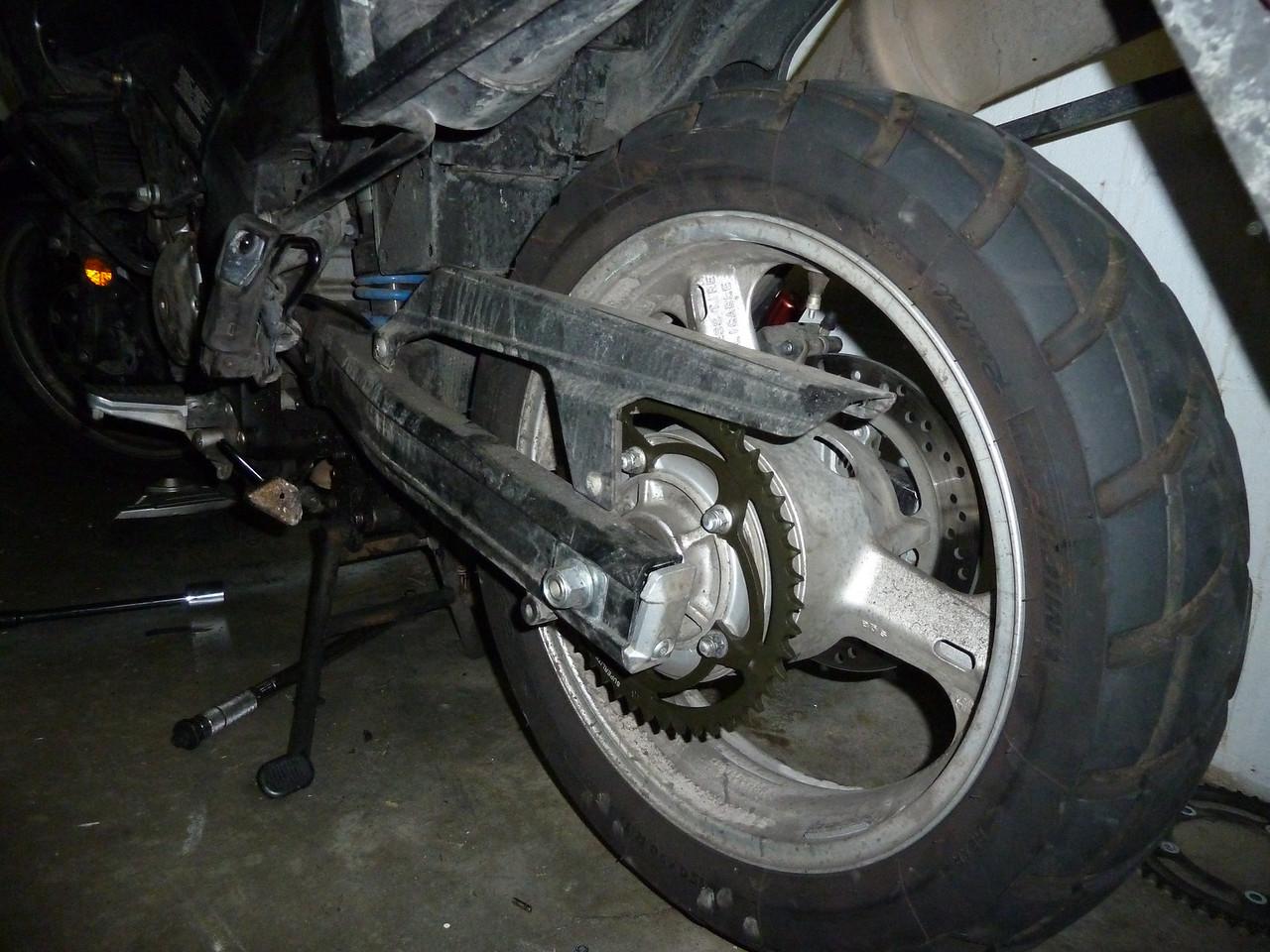 rear wheel reinstalled. phew!