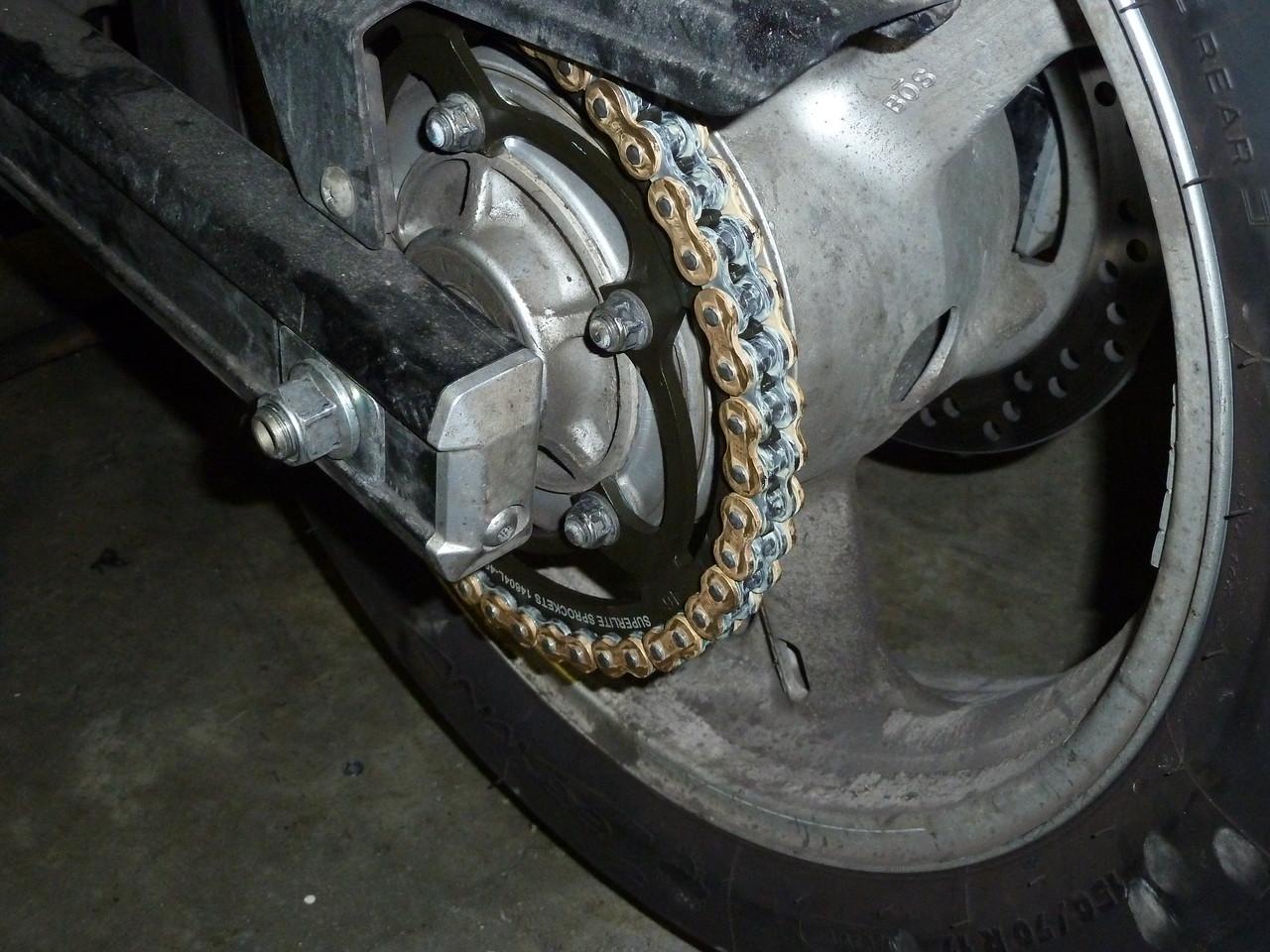 rear wheel, sprocket, chain.