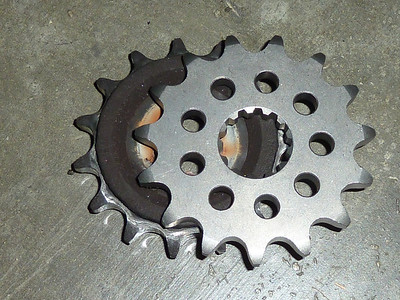 old vs new countershaft sprockets.