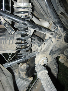 Blown YSS mono shock supplied by The Suspension Shop SA - began leaking on  first trip out along a dirt road.