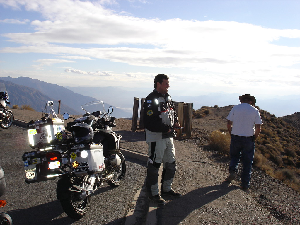 </br> Guido at Dante's View.  Guido started in Miami, rode to Alaska & was on his way south to Ushuaia (the southern tip of South America)! </br>